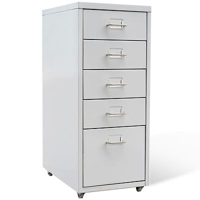 Vidaxl File Cabinet With 5 Drawer Steel 27 Gray Storage Organizer Container