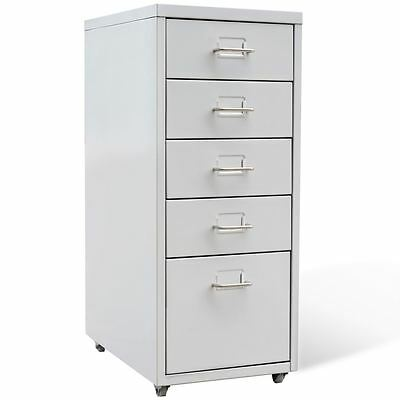 5 Drawer Metal Filing Cabinet Office Storage Organizer 11 X 16.1 X 27 Gray