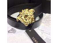 Men's Versace medusa black leather belt for men gold buckle Versace brand new with receipt dust bag