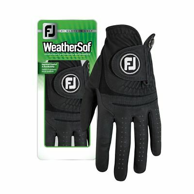 как выглядит Одежда для гольфа New FootJoy WeatherSof Mens Black Golf Gloves - Select Size фото