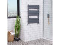 Towel Rail Radiator. Brand new Designer Flat Panel Heated Bathroom - Grey 650x400