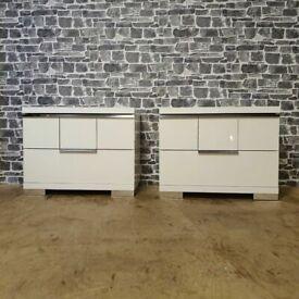 "Asti White Gloss Bedside By ALF Group Italian ""Design"""