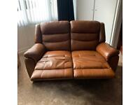 Leather tan brown recliner 2 seater and 3 seater sofa and foot stool brilliant cons