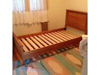 Single slatted oak bed