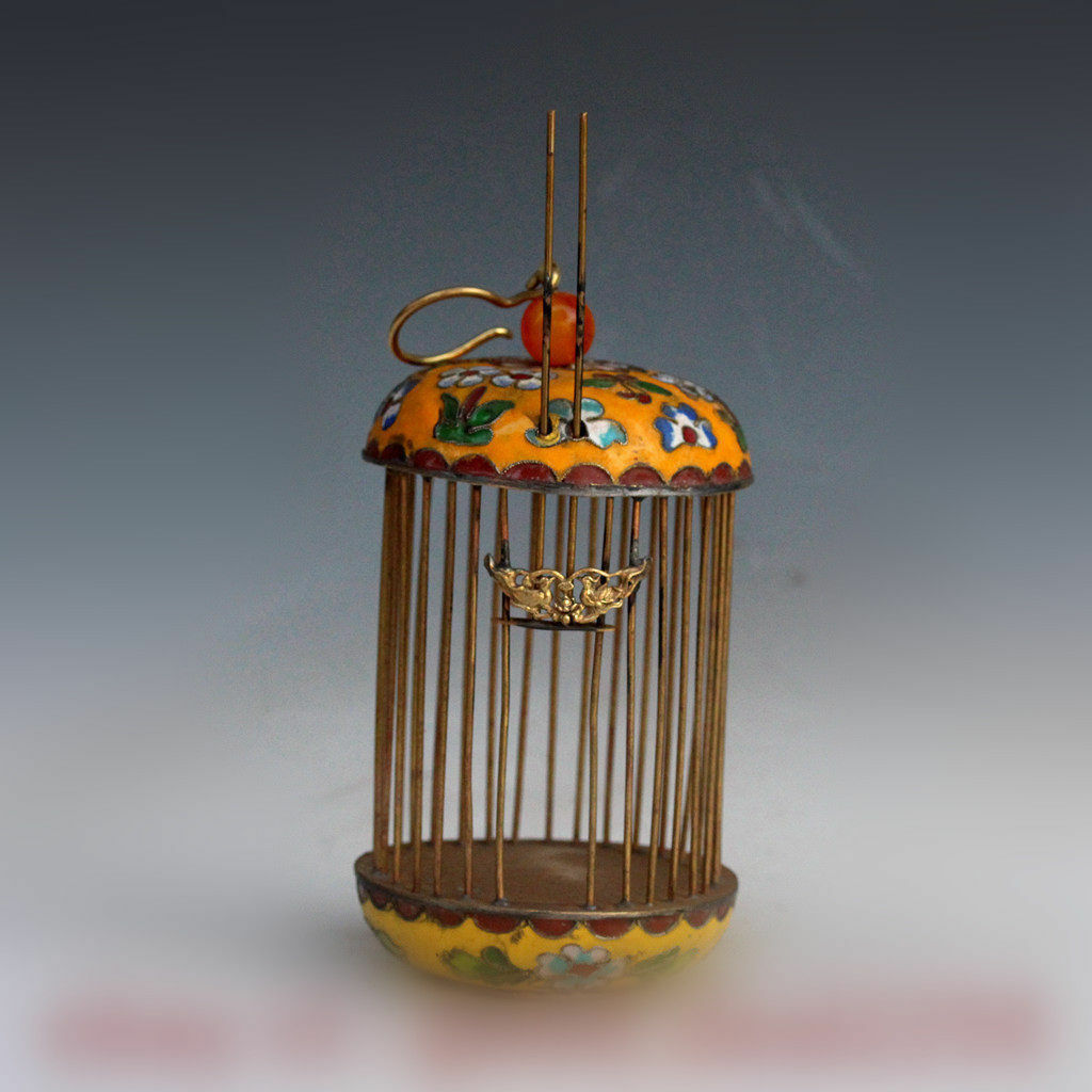 Old chinese Palace Bronze cloisonne Enamel flower Bird birdcage Cage Basket