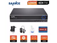 SANNCE 4CH 5in1 1080N Digital Video Recorder for Security Camera System H.264 UK 250 gb HDD