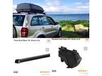 Halfords Roof box, Thule Roof bars with Exodus feet