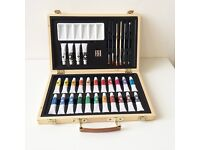 Acrylic Art Set in Wooden Presentation Box as New
