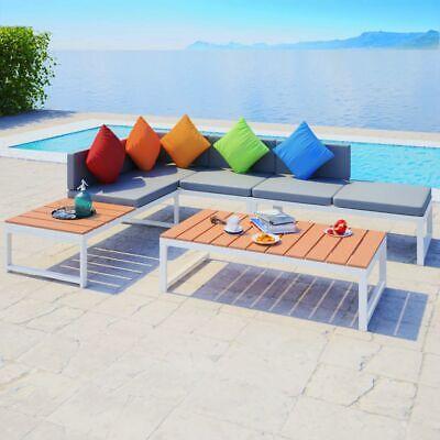 Garden Furniture - vidaXL Garden Corner Sofa Set 19 Piece Aluminum WPC Outdoor Patio Furniture