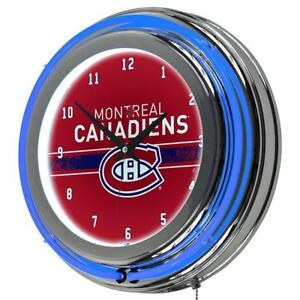 NEW Trademark Gameroom NHL Chrome Double Rung Neon Clock-Montreal Canadiens