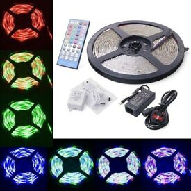 12V 5 Meters RGBW LED Strip Light + Remote Control + Power Supply, Multiple Colours
