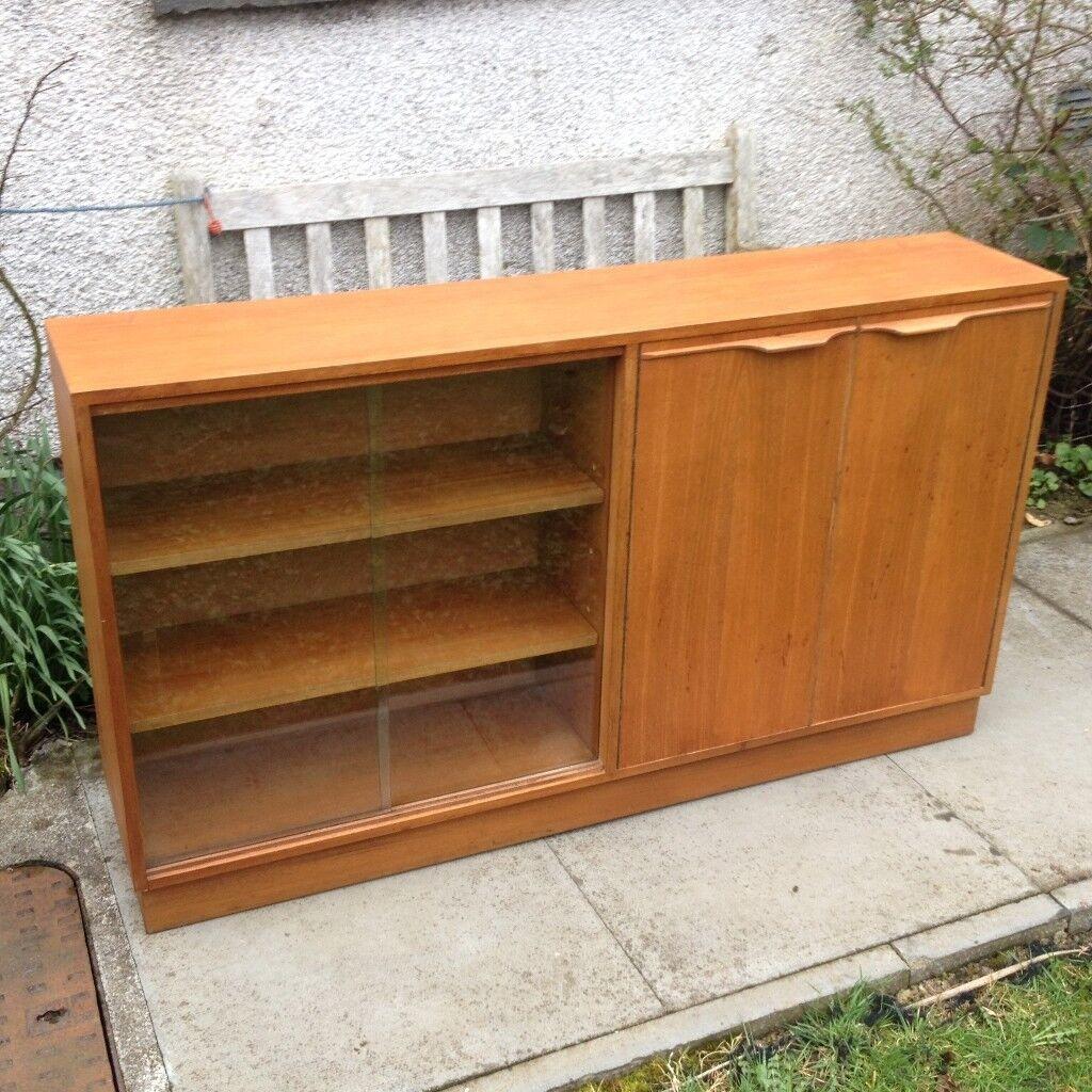 Vintage Teak Long Slim Bookcasecabinet With Sliding Glass Doors And
