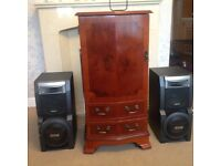 Stereo in Yew cabinet