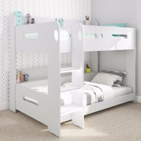 White Kids Bunk Bed - Ladder Can Be Fitted Either Side! + Storage Shelves