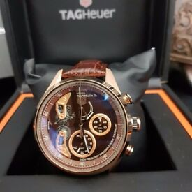 New Mens bagged and boxed Tag Heuer Carrera torbilion S chronograph watch with leatherstrap rose
