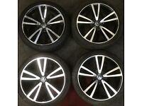 Set Genuine vw Golf Mk7 Vision alloy wheels & tyres 225x40 Black Polished Leon Passat Caddy Audi A3