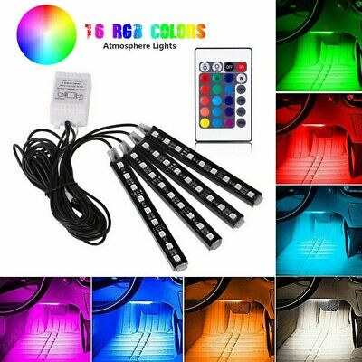 9LED RGB Interior del Coche Luz de Tira Color Control Remoto Atmósfera...