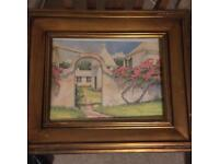 """Large picture with 4"""" wooden frame Spanish villa"""