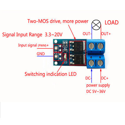5x 15a 400w Dc 5-36v Large Power Mosfet Mos Fet Trigger Switch Driver Module