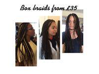 Mobile Afro hairdresser- Box Braids fr £35, crochet fr £25, Weave fr £10. Last minute welcome!!!