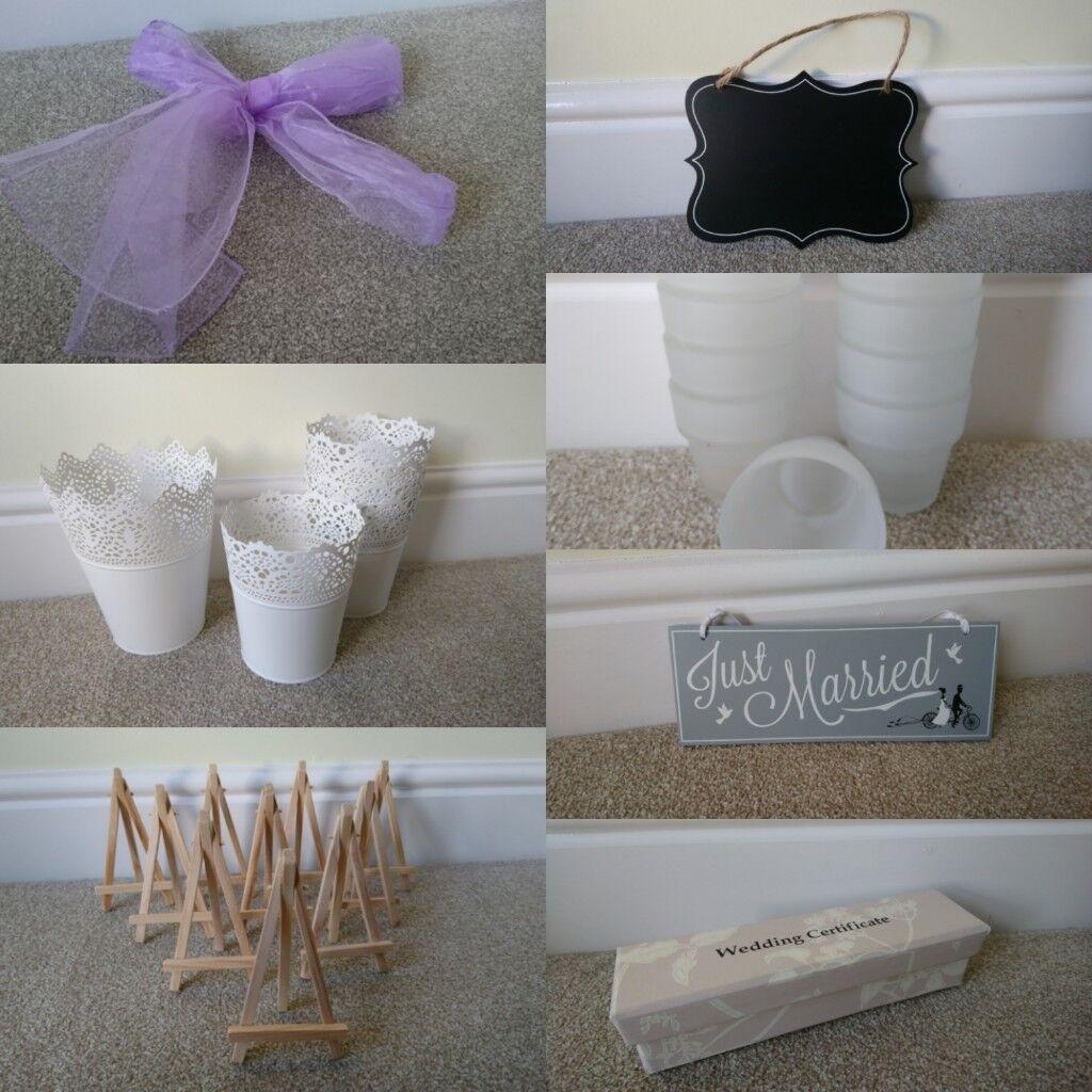 Wedding decoration bundle inc. 95 lilac organza chair ties