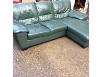 Green leather corner suite good condition
