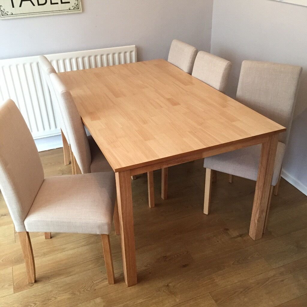 Dining table and 6 chairsin Houghton Le Spring, Tyne and WearGumtree - Dining table and 6 cream chairs less than 6 months old £200 ONO