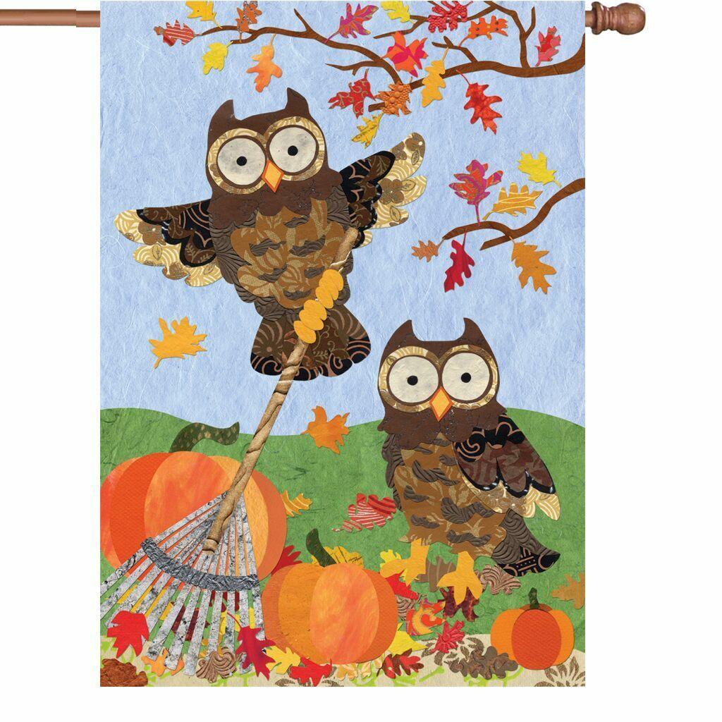 Autumn Owls House Flag  w Owl Raking Fall Leaves and Pumpkin