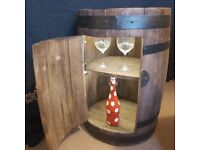 Rustic Hand-Made Wooden Barrel Bar, Lockable Storage Cabinet Bar