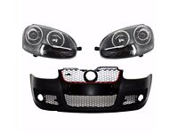 Front bumper and Xenon headlights European type Golf V MK 5 2003 2009 R32 Black LHD