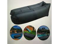 Inflatable black lounge air sofa bed chair for camping, garden, beach