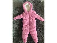 Girls mothercare padded suit with detachable mittens and boots 3-6 months