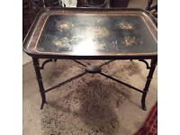 VICTORIAN PAPIER MACHE TRAY ON FAUX BAMBOO STAND...