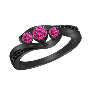 1.50 Pink Sapphire & Black Diamond Three Stone Ring in 10K Gold