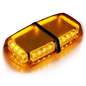 UK 12V Amber 24 LED Vehicle Roof Lightbar Flashing Beacon Strobe Light Magnetic