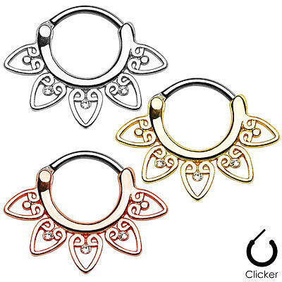 - 1pc Single Tribal Fan Septum Clicker 316L Surgical Steel 16g Nose Ring