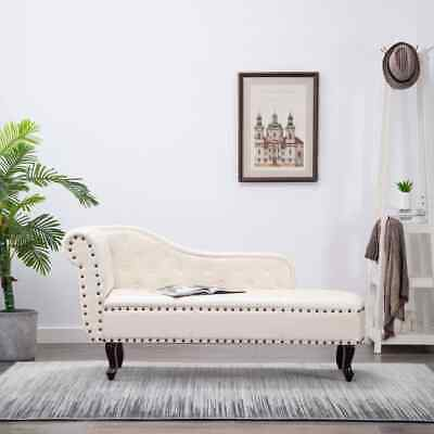 vidaXL Diván Sofá Chaise Lounge Cuero Artificial Blanco Crema Sillón Elegante