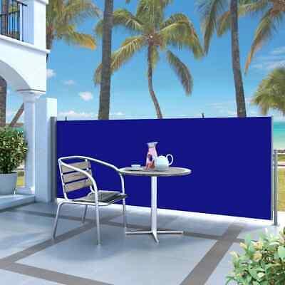 vidaXL Retractable Side Awning 140x300cm Blue Garden Privacy Screen Blind