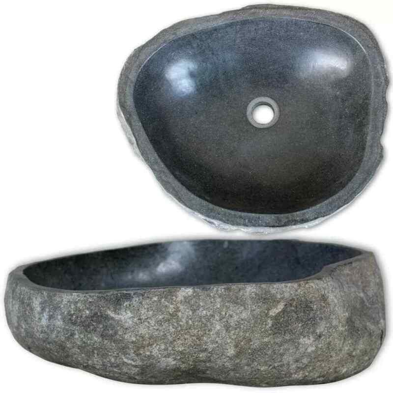 "River Stone Oval Wash Vessel Sink Bathroom Basin Washbowl Toilet 11.8""""-14.6"""""