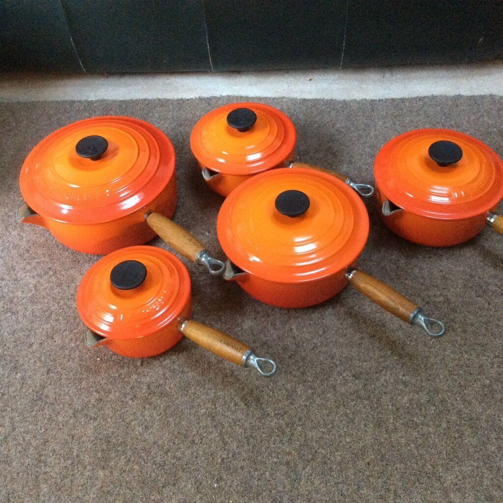 Le creuset cast iron saucepan set - Le Creuset Volcanic Orange Saucepan Set 5 Cast Iron Saucepan Set 3 Are Unused