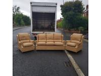 3,1,1 seater sofa in tan leather from G plan £295