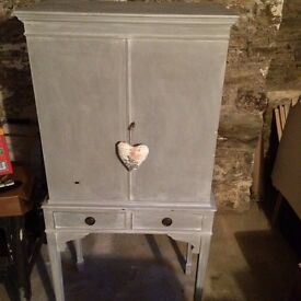 Lovely grey painted, vintage style shabby chic cabinet