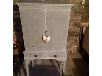 "Lovely grey painted, vintage style shabby chic cabinet. H = 4ft 6"", W = 1ft 11"", D = 1ft 3""."