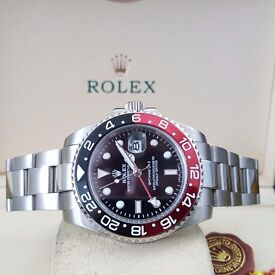 New Silver Rolex Gmt Master II Cola Red/Black Bezel Comes Rolex Bagged And Boxed With Paperwork