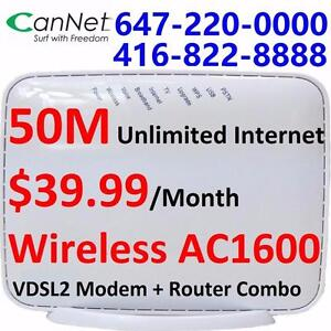 50M unlimited internet only $39.99/month with Wireless AC1600 router+modem combo included, NO CONTRACT, Free shipping