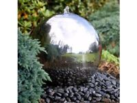 SILVER SPHERE WATER FEATURE.LED LIGHTS