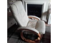Leather Recliner / Swivel Chair and Footstool