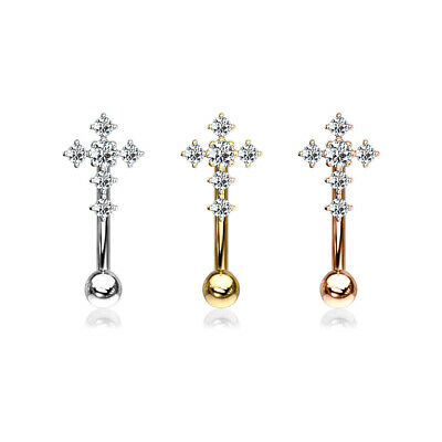 CZ Paved Cross Top Curved Barbell Eyebrow Ring Rook Daith Snug Piercing - Curved Barbell Eyebrow Ring