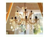 EXCELLENT CONDITION OLD CRYSTAL CHANDELIER WORKING ORDER TOP 4 LIGHT BOTTOM 8 LIGHT