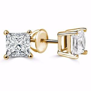 BOUCLES D'OREILLES ABORDABLES EN DIAMANTS PRINCESSE .75 CARAT OR 14K / 14K GOLD PRINCESS CUT DIAMOND EARINGS .75 CTW